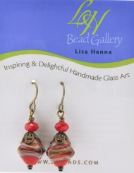 Red Swirl Diamond Earrings