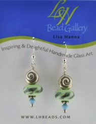 Green Stripe Nautilus Earrings