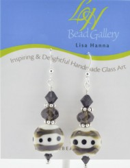 Creme Black Dot Earrings