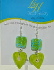Lime Green Heart Earrings
