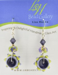Purple and Lime Green Flower Earrings