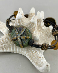 starfish leather bracelet amber grn
