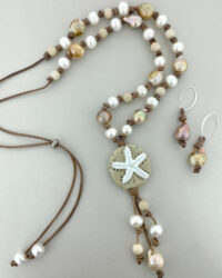 sand dollar leather and pearls